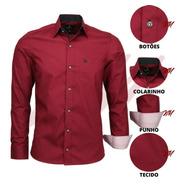 Camisa Social Masculina 100% Algodão Com Bolso Classica 1564