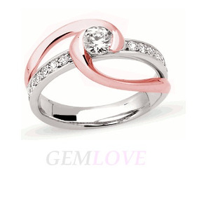 Anillo De Compromiso En Plata Oro Blanco Y Rosa, Diamante