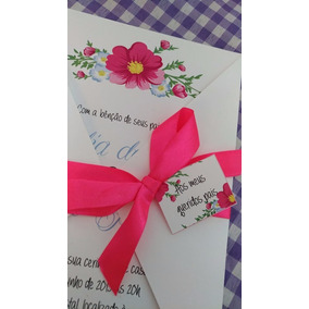 Convites Casamento Simples Floral Barato - Campo 15 Anos