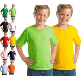 Kit C/10 Camisetas Infantil Juvenil Básica Lisa Tradicional