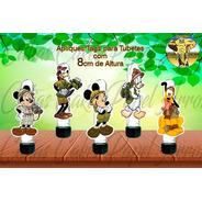15 Apliques Ou Tags Para Tubetes Mickey Safari Mod.01