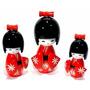 Bonecas Kokeshi Japonesas De Madeira Vermelha Trio 3peças