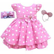 Vestido Minnie Rosa Luxo Infantil Minei Minie Com 2 Tiara