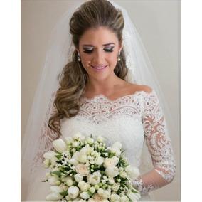 Lindo Vestido De Noiva Sereia Manga Longa