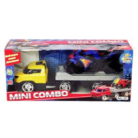 Caminhão Mini Combo Com 2 Motos - 41cm 197 Bs Toys Amarelo