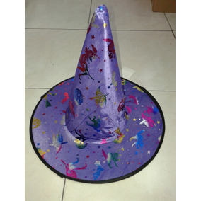 Sombrero De Bruja Violeta Con Dibujos Halloween Sanca dd54f6bd994
