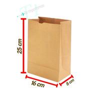 Bolsa Delivery Papel Kraf 16x25x8 Cm. Ecologicas X 100 U.