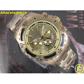 Relógio Masculino Invicta 24860 Cronógrafo Plaque Ouro