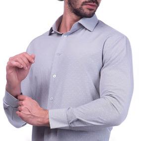Camisa Masculina Slim Fit Premium Cinza Listrada R-3189