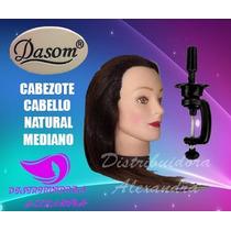 Dasom Cabezote Cabello Natural, Tamaño Mediano Con Base