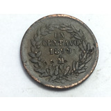 Moneda Un Centavo 1890 México Cobre