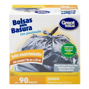Bolsas Para Basura Great Value Jumbo Con Plastinudo 90 Pzas