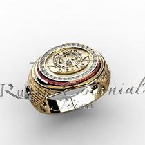 Anel Formatura Direito Ouro 18k Diamantes Rubis.