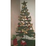Árvore De Natal Pronta C/ Enfeites. Laço, Bola, Luz, Botinha