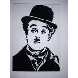 Quadro Charles Chaplin De Areia Colorida Alto Relevo 21x30cm