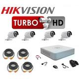 Kit Hikvision 4 Camaras Bala 720p Y Accesorios