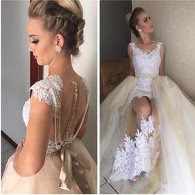 Vestido De Noiva 2 Em 1 Cauda Destacável Puro Luxo Casamento
