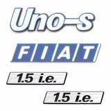 Emblema Uno S + Lateral 1.5 Ie + Fiat - Modelo Original