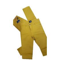 Pantalon Jean Mujer Color Mostaza Stampa Woman