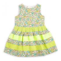 Vestido Casual Niña Epk Tela Floreada En Tonos Verdes