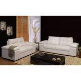 Sofa 2 Cuerpos Tapizado En Cuero Ecologico - Champagnehome