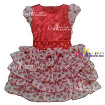 Vestido De Festa Infantil Moranguinho Promoção