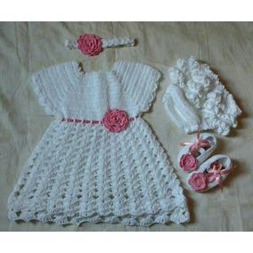 Kit! Vestido Calcinha, Sapatinho E Tiara De Crochê Para Bebe