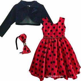 Vestido Infantil Ladybug Joaninha 4-16 Anos Com Bolero Tiara