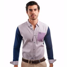 Camisa La C Frente Mini Cuadro Lila Mangas Y Espalda Marino