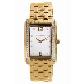 Relógio Technos Dourado Feminino Quadrado 2035ffm/4k +frete