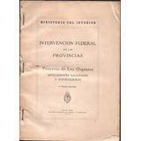Intervención Federal En Las Provincias Ley Orgánica 1933 Rus