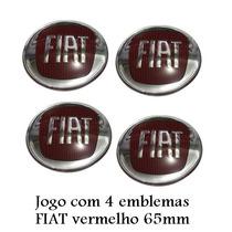 Jogo De Emblema Fiat Vermelho 65mm Para Calota De Roda Liga