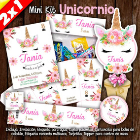 Kit Imprimible Unicornio Invitaciones Etiquetas Fiesta 2x1
