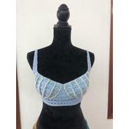 Crop Top Azul Perlas Crochet