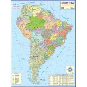 Mapa América Do Sul Político E Rodoviário 120x90cm Gigante