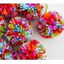 10 Pompones De Lana Multicolores 4,5 Cm -