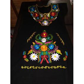 Vestido Kimono Bordado Estilo Tehuacan En Manta Pre Lavada