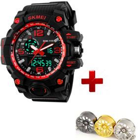 Relógios Masculinos A Prova D´agua Relógio Vermelho + Brinde