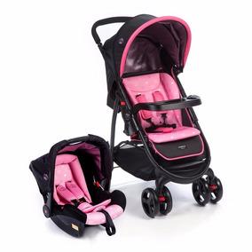 Kit Carrinho E Bebê Conforto Travel System Nexus Rosa Cosco
