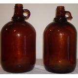 Deco Rocisus Antiguo Hermoso Par Botellones Vidrio Con Asa!!
