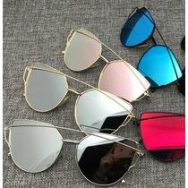 Kit 6 Óculos Espelhados Feminino Metal Olho De Gato Atacado