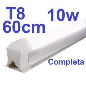Lampada Led Tubular T8 60cm 6000k Calha Acoplada Completa