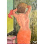 Artwork - Pintura - Acrílico:  En La Sala Arreglándome