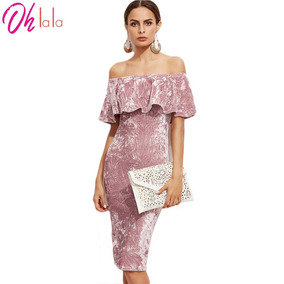 Vestido De Fiesta Terciopelo Rosa Sexy, Envio Internacional