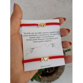 Pulseras Del Hilo Rojo Del Destino Con Iniciales Y Corazón