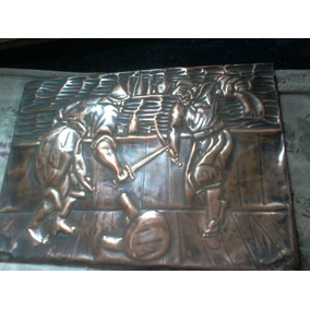 Cuadro Antiguo De Chapa De Bronce Con Mas De 60 Años