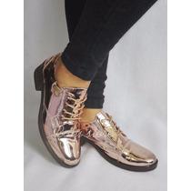 Zapatos Tipo Bolichero Color Bronce