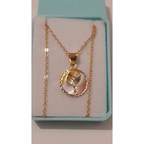 Medalla De Cristo Redonda 1.5 Cm Con Cadena Oro Lam.