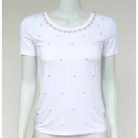 Blusa Camiseta Tshirt Bordada Pedraria Pérolas Vb30