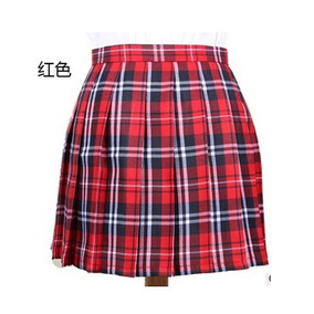 Falda Escocesa Mini Roja Mujer Algodón Talla S M L Colegiala